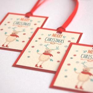 Állatos Karácsonyi Ajándékkísérő, Szarvasos, Adventi Kártya, Mikulás, Szarvas, piros, Ünnepi, kiskártya, ajándék, natúr,, Karácsonyi képeslap, Karácsony & Mikulás, Otthon & Lakás, Fotó, grafika, rajz, illusztráció, Mindenmás, Állatos Igényes Ajándékkártya darabra\n\n* Kártya mérete: Kb:  4,6x6.5cm\n* Hátoldal üres, saját üzenet..., Meska