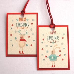 Állatos Karácsonyi Ajándékkísérő, Szarvas, Nyuszi, Adventi Kártya, Mikulás, piros, Ünnepi, kiskártya, ajándék, natúr,, Karácsonyi képeslap, Karácsony & Mikulás, Otthon & Lakás, Fotó, grafika, rajz, illusztráció, Mindenmás, Állatos Igényes Ajándékkártya csomagra\n\n1 CSOMAGBAN : 6db kártya van\n\n* Kártya mérete: Kb:  4,6x6.5c..., Meska