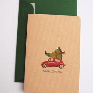 Vintage Karácsonyi Képeslap, fenyőfa, Adventi Képeslap, Vintage Karácsony,üdvözlőlap, Ünnepi lap, kártya, piros autó,, Karácsonyi képeslap, Karácsony & Mikulás, Otthon & Lakás, Fotó, grafika, rajz, illusztráció, Mindenmás, A/6-os méretű Igényes kinyitható Egyedi Karácsonyi képeslap, prémium borítékkal.\n\n* Képeslap: Kb.: A..., Meska