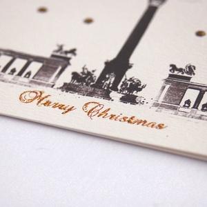 Budapesti Karácsonyi Képeslap, Adventi Képeslap, Karácsony, üdvözlőlap, Ünnepi lap, kártya, Budapest, Hősök tere, arany (LindaButtercup) - Meska.hu
