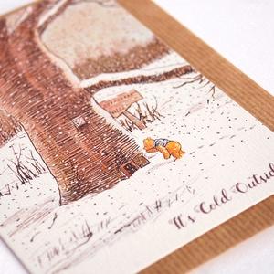 Vintage Karácsonyi Képeslap,  Micimackó, hó, fa, Retro, Adventi Képeslap, Karácsony, üdvözlőlap, Ünnepi lap, kártya, Otthon & Lakás, Karácsonyi képeslap, Karácsony & Mikulás, A/6-os méretű Igényes kinyitható Egyedi Karácsonyi képeslap, prémium borítékkal.  * Képeslap: Kb.: A..., Meska