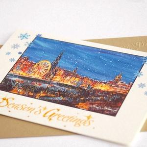 Karácsonyi vásár Képeslap,  Winter Wonderland, Téli táj, festmény, Adventi, Karácsony, üdvözlőlap, Ünnepi lap, kártya - karácsony - karácsonyi ajándékozás - karácsonyi képeslap, üdvözlőlap, ajándékkísérő - Meska.hu