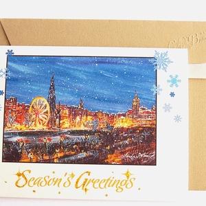 Karácsonyi vásár Képeslap,  Winter Wonderland, Téli táj, festmény, Adventi, Karácsony, üdvözlőlap, Ünnepi lap, kártya, Karácsonyi képeslap, Karácsony & Mikulás, Fotó, grafika, rajz, illusztráció, Mindenmás, A/6-os méretű Igényes kinyitható Egyedi Karácsonyi képeslap, prémium borítékkal.\n\n* Képeslap: Kb.: A..., Meska