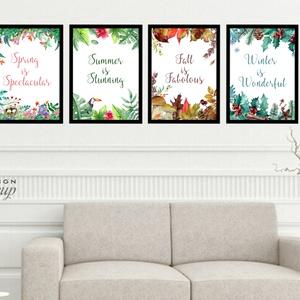 4 évszak, otthoni dekoráció, négy évszak, Virág festmény, Print, falikép, Tavaszi kép, nyomat, tél, ősz, tavasz, nyár, Otthon & Lakás, Dekoráció, Kép & Falikép, Festészet, Fotó, grafika, rajz, illusztráció, Meska