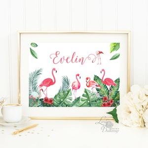 Babaszoba Dekoráció, Flamingó festmény, Virágos kép, falikép, állatos, madár, Baba, gyerek,Gyerekszoba, névre szóló (LindaButtercup) - Meska.hu
