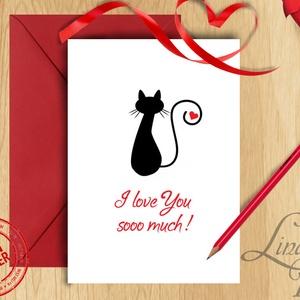 Valentin napi Képeslap, Szeretlek Képeslap, Valentin üdvözlőlap, I love you, Szerelmes, piros lap, Cica, cicás lap (LindaButtercup) - Meska.hu