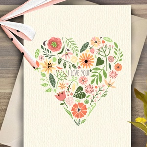Szeretlek Képeslap, Virágos, Szív, Tradícionális, Anyák napi lap, üdvözlőlap, love you, Szerelmes, Hagyományos (LindaButtercup) - Meska.hu