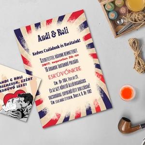 RETRO meghívó, Retro Esküvő, Vintage meghívó, Pop art, Pop, Rocky, 50's, 1950-es évek, nyári meghívó, retro party, buli (LindaButtercup) - Meska.hu