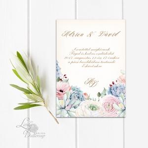 Pasztell Virágos Esküvői meghívó, Nyári Esküvő, rózsa, elegáns, romantikus, virágos meghívó, rózsás, barack, kövirózsa (LindaButtercup) - Meska.hu
