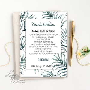 Greenery Esküvői meghívó, Nyári Esküvő, növény, pálma, trópusi, meghívó, zöld, letisztult, egyszerű, minimal, levél - esküvő - meghívó & kártya - meghívó - Meska.hu