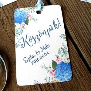 Esküvői képeslap, köszönet lap, köszönjük, Ajándékkísérő, köszönöm, kártya, virágos, kék hortenzia (LindaButtercup) - Meska.hu