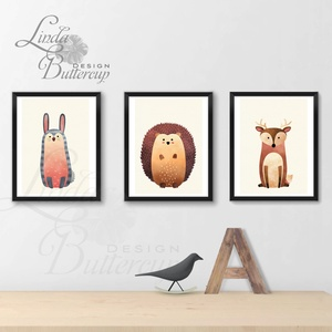 Babaszoba Dekoráció, Állatok festmény, Erdei állat, vad állatok falikép, Gyerekszoba dekoráció, medve, mókus, süni - Meska.hu