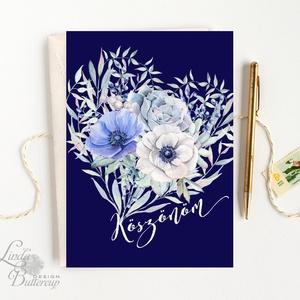 Köszönöm kártya, köszönet, köszönjük Képeslap, kék rózsa, szív, tengerkék, pasztell, virágos, tavaszi, love, virág, Otthon & Lakás, Képeslap & Levélpapír, Papír írószer, A/6-os méretű Igényes Alkalmi Köszönet lap  250 g matt, vászon mintájú kiváló minőségű írható fehér ..., Meska