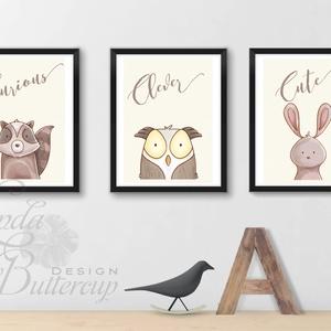 Babaszoba Dekoráció, Állatok festmény, Erdei állat, vad állatok falikép, Gyerekszoba dekor, maci, nyuszi, bagoly (LindaButtercup) - Meska.hu