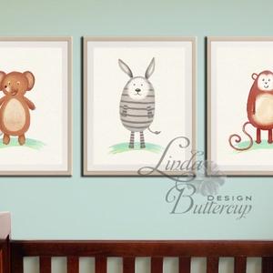 Babaszoba Dekoráció, Állatok festmény, Erdei állat, vad állatok falikép, Gyerekszoba dekor, medve, mókus, majom (LindaButtercup) - Meska.hu