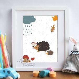 Babaszoba Falikép, Süni festmény, Gyerekszoba kép, dekoráció, erdei állat, sün, baba kép, baby, cuki, felhő, állatos (LindaButtercup) - Meska.hu