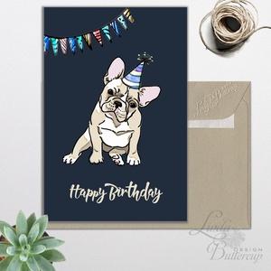 Szülinapi képeslap, kutyás képeslap, francia bulldog, kutya, Személyre szóló Születésnapi lap, Állatos Képeslap, egyedi, Képeslap & Levélpapír, Papír írószer, Otthon & Lakás, Fotó, grafika, rajz, illusztráció, Mindenmás, A/6-os Egyedi Aranyos Szülinapi képeslap, prémium borítékkal. \nAkár személyre szólóan is\n\nBármilyen ..., Meska