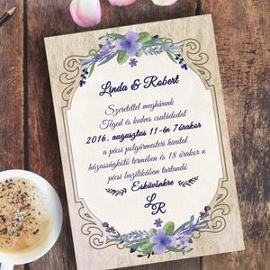 Vintage Esküvő, Vintage meghívó, Levendula lila, Esküvői lap, lila virágos lap, levendula meghívó, rusztikus (LindaButtercup) - Meska.hu