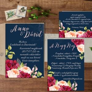 Bordó Esküvői meghívó, Romantikus, elegáns kék meghívó, marsala, Barack virág, virágos meghívó, Modern, Rózsás, Rózsa, Esküvő, Meghívó, Meghívó & Kártya, Minőségi Virágos Esküvői  Meghívó  * MEGHÍVÓ CSOMAG BORÍTÉKKAL: - 1.  -Meghívó lap, egy oldalas: kb...., Meska