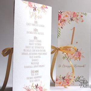 Esküvői Virágos Menü, Rózsás Virágos Esküvői lap, Esküvő Képeslap, rózsaszín meghívó, Party menü (LindaButtercup) - Meska.hu