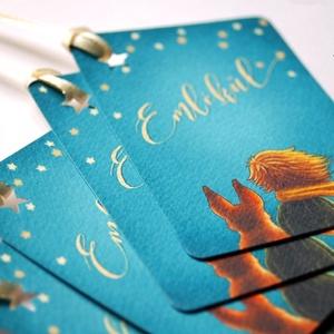 Ajándékkísérő, emlék kártya, ajándék, kísérőkártya, kisherceg, csillag, róka, szülinap, emléklap, keresztelő kártya,, Otthon & Lakás, Papír írószer, Képeslap & Levélpapír, Fotó, grafika, rajz, illusztráció, Mindenmás, Meska