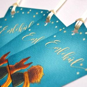 Ajándékkísérő, emlék kártya, ajándék, kísérőkártya, kisherceg, csillag, róka, szülinap, emléklap, keresztelő kártya, (LindaButtercup) - Meska.hu
