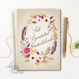 Gratulálunk képeslap, Pénzátadó lap, Esküvői gratuláció, nászajandék, Esküvői lap, jó kívánság, virágos, sok Boldogságot, Nászajándék, Emlék & Ajándék, Esküvő, Festészet, Fotó, grafika, rajz, illusztráció, Esküvői gratuláció, A/6-os Egyedi, Alkalmi, Igényes Esküvői lap, gyönyörű fényes borítékkal.\n\nAdd át..., Meska