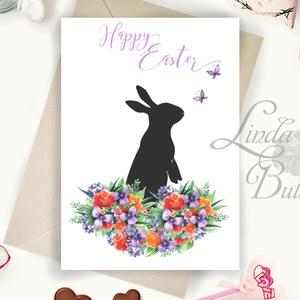 Húsvéti képeslap, Húsvéti dekoráció, Húsvét, Nyuszi, Nyúl, Tavaszi virágok, ibolya, pillangó, lepke, Tavasz - Meska.hu
