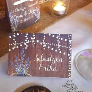Esküvői ültetőkártya, meghívó, rusztikus, vintage wedding, Esküvői ültető, levendula, fényfüzér, pajta (LindaButtercup) - Meska.hu