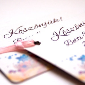 Köszönet kártya, ajándékkísérő,köszönet ajándék, esküvői kísérőkártya, köszönet lap, köszönjük, köszönöm, virágos (LindaButtercup) - Meska.hu
