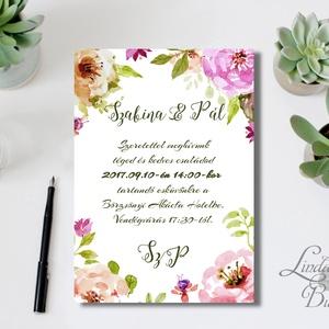 Esküvői meghívó, Virágos Esküvői lap, Esküvő Képeslap, rózsa, zöld, arany, meghívó, natúr, vízfesték, levelek, nyári (LindaButtercup) - Meska.hu