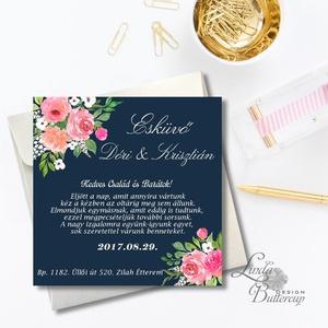 Esküvői meghívó, Modern virágos meghívó, vízfesték hatású meghívó, kék meghívó, tengerkék esküvő, elegáns, romantikus - Meska.hu