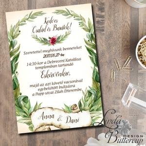 Vintage Esküvői meghívó, rusztikus meghívó, levélkoszorú, Esküvői kártya, zöld levelek, natúr meghívó, levél, vízfesték (LindaButtercup) - Meska.hu