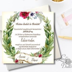 Vintage Esküvői meghívó, Rusztikus meghívó, Zöld levelek, Zöld levél koszorú, Esküvői lap, bordó virágos meghívó, , Esküvő, Meghívó, Meghívó & Kártya, Esküvői  Meghívó: * Meghívó lap 1 oldalas 13x13cm * fényes boríték: 14x14cm  * SZERKESZTÉSI DÍJ: 300..., Meska