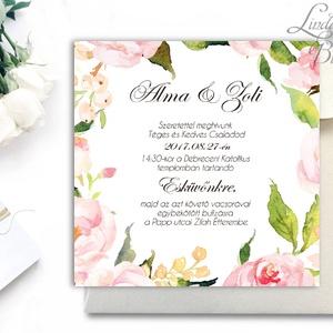 Romantikus Esküvői meghívó, Vízfesték hatású meghívó, Rózsás meghívó, Zöld levelek, Zöld levél, virágkoszorú, rózsakert, Esküvő, Meghívó & Kártya, Fotó, grafika, rajz, illusztráció, Papírművészet, Meska