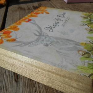 Őszi Esküvői Emlékkönyv, Vendégkönyv, könyv, Őszi erdő, makk,fa levelek, szarvas, őz, tölgy, Esküvői vendégkönyv, (LindaButtercup) - Meska.hu