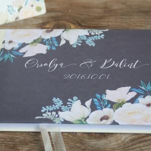 Esküvői Emlékkönyv, Vendégkönyv, könyv, fehér virágos, virág, elegáns, zöld levelek, szürke, Esküvői vendégkönyv, (LindaButtercup) - Meska.hu