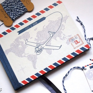 Nászajándék, Esküvői Emlékkönyv, Bohém könyv, térkép, repülő, Esküvői vendégkönyv, travel, utazás, napló, utazónapló, Nászajándék, Emlék & Ajándék, Esküvő, Fotó, grafika, rajz, illusztráció, Papírművészet, Emlékkönyv A/5 méret\n\nGyönyörű Igényes Esküvői Emlékkönyv, A5-ös méret, 70 prémium lapos (140-oldala..., Meska