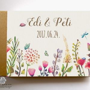Esküvői Emlékkönyv, gyűrűs fotó mappa Vendégkönyv, virágos könyv, virág, elegáns, rózsás, rózsaszín, rózsa, arany (LindaButtercup) - Meska.hu