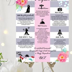 Esküvői Poszter A3, Esküvői kép, Esküvő Dekor, Esküvői felirat, Vintage, Elegáns, Virágos, Vendég, Esküvő, Helyszíni dekor, Dekoráció, Fotó, grafika, rajz, illusztráció, Papírművészet, Meska
