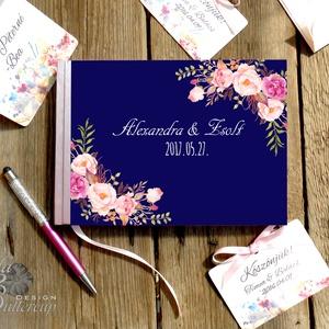 Kék Rózsás Emlékkönyv, Esküvői Vendéggkönyv, pink, rózsaszín,  Virágos kék könyv, rózsa, Esküvő elegáns könyv, napló, Esküvő, Esküvői dekoráció, Naptár, képeslap, album, Otthon & lakás, Nászajándék, Fotó, grafika, rajz, illusztráció, Papírművészet, Esküvői Virágos A5-ös Emlékkönyv.\n\nGyönyörű Igényes Esküvői Emlékkönyv, A5-ös méret, 70 prémium lapo..., Meska