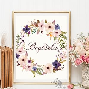 Virágkoszorú, Névre szóló, személyre szóló, Babaszoba Dekoráció, Virágos kép, virág falikép, Baba, gyerek,Gyerekszoba, Otthon & Lakás, Falra akasztható dekor, Dekoráció, A/4-es méretű nyomtatott kép, Print lap.  Keret Nélkül.  250g matt, vászon mintájú kiváló minőségű t..., Meska