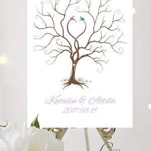 Esküvői ujjlenyomatfa, vászon kép, Esküvői fa, szerelmes madár pár, Fa festmény, Esküvői dekor (LindaButtercup) - Meska.hu