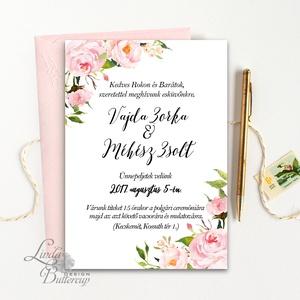 Púder Rózsaszín Esküvői meghívó, Nyári Esküvő, Rózsa, rózsás, elegáns, romantikus, virágos meghívó, vízfesték meghívó, Esküvő, Meghívó & Kártya, Meghívó, Fotó, grafika, rajz, illusztráció, Papírművészet, Meska