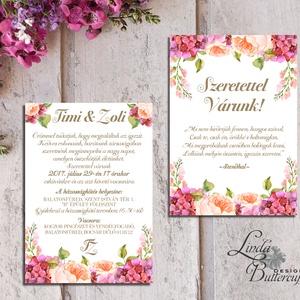 Hortenzia Esküvői meghívó,  Dupla oldalas meghívó, Nyári Esküvő, Barack virág, virágos meghívó, Rózsás, Rózsa, rózsaszín (LindaButtercup) - Meska.hu