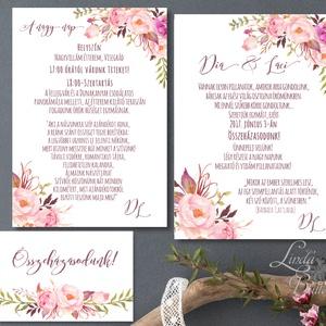 Mályva Esküvői meghívó, Rózsás meghívó, rózsa, elegáns, romantikus, virágos meghívó, vízfesték meghívó, nyári esküvő (LindaButtercup) - Meska.hu