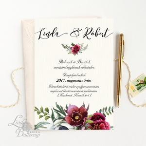 Bordó virágos meghívó, Rusztikus Meghívó, Bohó Esküvői meghívó, bohém, zöld leveles, levél, marsala meghívó, piros (LindaButtercup) - Meska.hu