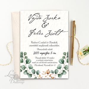 Greenery Meghívó, Bohó Esküvői meghívó, eukaliptusz, silver coin, zöld leveles, levél, natúr meghívó, természet,esküvő, Esküvő, Meghívó, Meghívó & Kártya, Minőségi  Esküvői  Meghívó  * MEGHÍVÓ CSOMAG BORÍTÉKKAL: - Meghívó egy lap, egy oldalas: kb.: 14cm x..., Meska