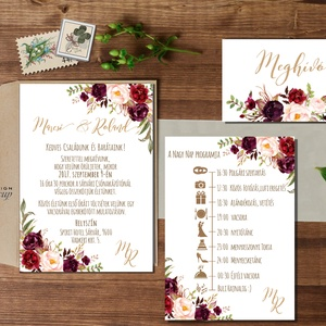 Bordó Esküvői meghívó, Őszi Rózsás meghívó, rózsa, elegáns, romantikus, virágos meghívó, őszi meghívó, őszi virágok,, Esküvő, Menü, Meghívó & Kártya, Fotó, grafika, rajz, illusztráció, Papírművészet, Meska