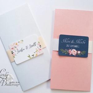 Kék Esküvői meghívó, Zsebes Boríték,  pink, rózsa virágos meghívó, nyári virágos meghívó, vízfesték rózsa (LindaButtercup) - Meska.hu